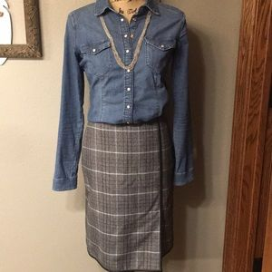 Banana Republic Wool/Leather Look skirt Size 0
